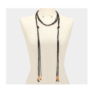 Long Black & Gold Multi Strand Leather Tassel Cord Choker Necklace