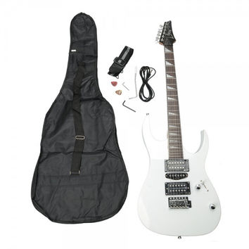 Professional Electric Guitar White with Bag Strap Pick Tremolo Bar Cable