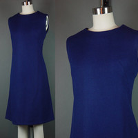 60s Navy Blue Mod Sheath Dress Vintage 1960s Sleeveless Diagonal Ribbed Texture