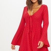 Red Polka Dot Fluted Sleeve Tie Detail Tea Dress