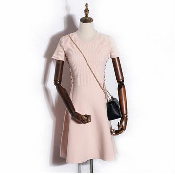 2017 Fashion Women Knitted Dress High Waist Elastic Pure Color Knitting Dress Short Sleeve Lacing Slim Female Elegant Style