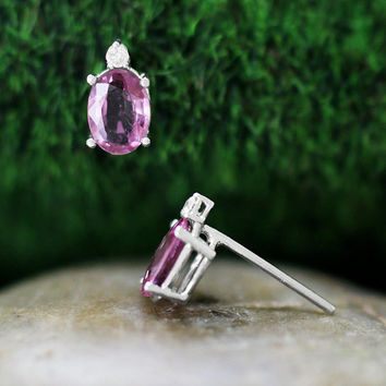 Natural Pink Sapphire and Diamond 14k Solid White Gold Stud Earrings (Free Shipping)