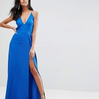 ASOS Deep Plunge Tie Back Cami Maxi Dress at asos.com
