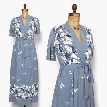 Vintage 40s DRESSING GOWN / 1940s Novelty Butterfly Print Rayon Hostess Dress Robe