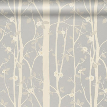 Cottonwood Leaf Metallic Wallpaper, Silver at LAURA ASHLEY