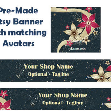 Pre-Made Etsy shop banner, elegant, floral red, jewelry, digital print, Holiday and Christmas spirit, gold ring, shop icon, holiday sale