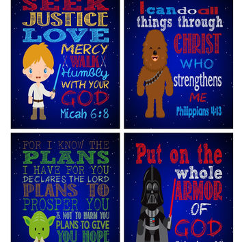 Star Wars Christian Nursery Art Decor Print Set of 4 - Luke Skywalker, Yoda, Darth Vader, Chewbacca - Bible Verse, Playroom or Kid's Room