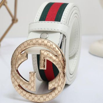 GUCCI Fashion Woman Men Smooth Buckle Red Green Stripe Belt Leather Belt I/A