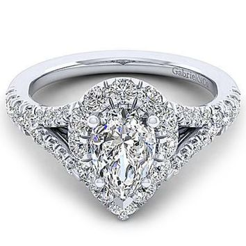 "Gabriel ""Juliana"" Pear Halo Diamond Pave Engagement Ring"