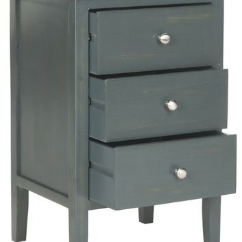 Deniz End Table With Storage Drawers Steel Teal