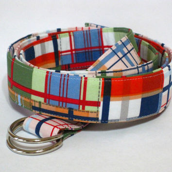 Madras Plaid Belt Mens Plaid D-Ring Belt / Preppy Mens Belt / Fabric Belt in Blue Orange Green White sizes XS to Big and Tall