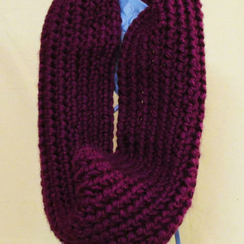 Valentines Day Special: Crochet Plum Purple Infinity Scarf/Cowl