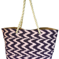 Reversible Purple Ikat Canvas Beach Bag with Rope Straps