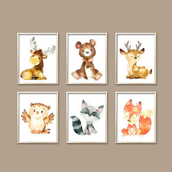 Watercolor WOODLAND Wall Art - Wood Forest Animals - Baby Boy Nursery Artwork - Deer Bear Fox Owl - Canvas or Prints - Set of 6 Shower