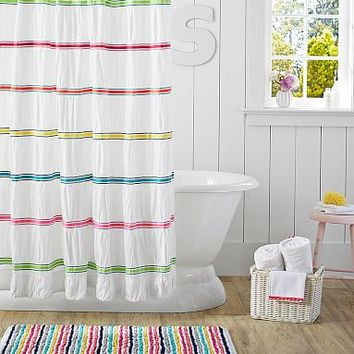 Rainbow Ribbon Shower Curtain