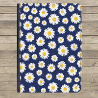 "Navy Floral Daisy PU Leather Flip Standing Universal Tablet Case Cover Kindle Fire HD 7"" iPad 2 / 3 / 4 Samsung Galaxy Tab Google Nexus"