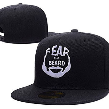 HAIHONG James Harden Fear The Beard Logo Adjustable Snapback Embroidery Hats Caps - Black