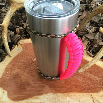Hot Pink/Camo Paracord Yeti 20 oz. Rambler Handle Grip