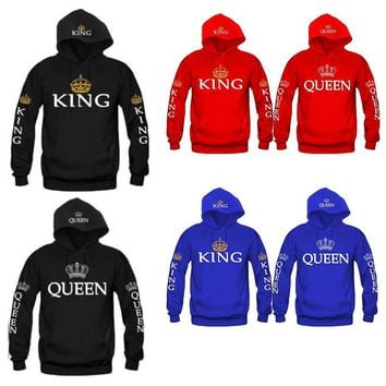 Women Men Hoodies King Queen printed Sweatshirt lovers couples hoodie hooded sweatshirt casual Pullovers tracksuits KH930042