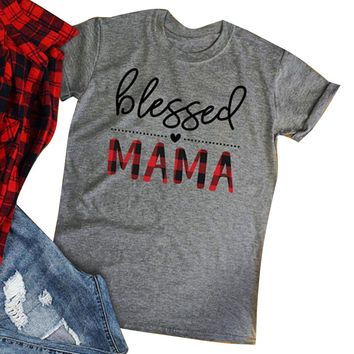 Blessed Mama Letter Print Gray  T-Shirt Women Clothes 2018 Summer Short Sleeve T shirt Casual Loose Harajuku Tee Basic Tops