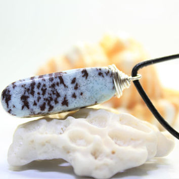 Dominican Larimar sky blue scenic coral brown island wire wrapped pendant silver plated, unisex men bohemian surf necklace handmade