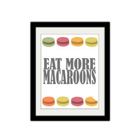 "Eat More Macaroons. Kitchen Poster. Pastry. Retro colors. Sweet Treat. Home Decor. Typography. 8.5x11"" Print."