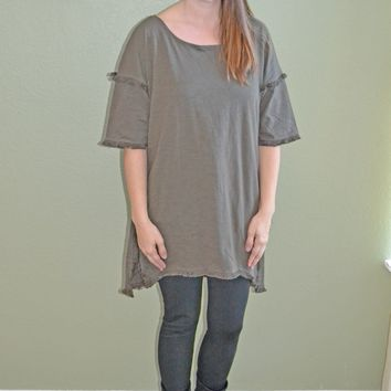 Cool Factor Fringe Hem Top: Olive