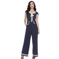 Jolene Nautical Navy Wide Leg Jumpsuit