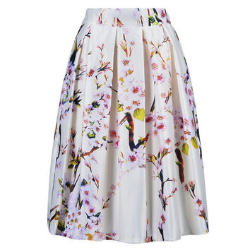 2015 High waist Floral Knee Length Long Skirt With Pleat Casual Female Skirts Womens Summer Sakura Skater Skirts PE3333*50