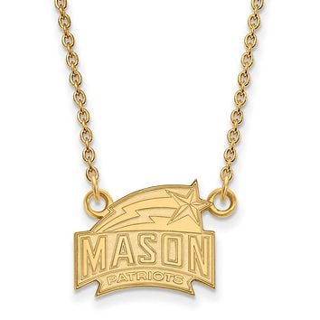NCAA 14k Gold Plated Silver George Mason U Small Pendant Necklace