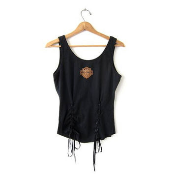 Vintage black Harley Davidson tank top. Sexy cropped tank top. Corset lace up tank top. Grunge. size L
