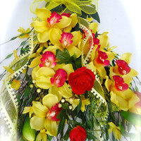 Silk Floral Swag -Spring Wreath- Twig Door Swag-Yellow Floral Swag  Front Door  Swag with Orchids