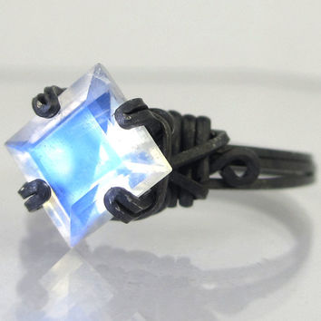 Princess Cut Rainbow Moonstone Oxidized Sterling Silver Ring