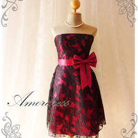 Princess Romance - Fushia Lace Dress Party Prom Bridesmaid Wedding Cocktail Dinner Evening Dress