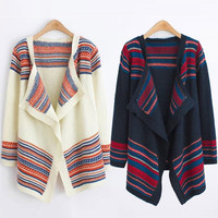 Stripe Cardigan Sweater Loose Coat