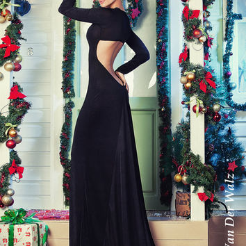 Black Dress Maxi with Open Back, Sexy Dress, Formal Dress, Evening gowns, Evening dress, Long Sleeve dress, Party dress, night club dress