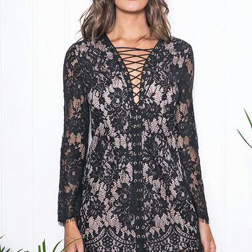 black lace dress, lace up dress, lace dress, black dress, boho, chic, gypsy, hippie, high fashion, romantic, sheer lace