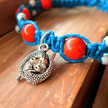 Koi Fish Bracelet Koi Hemp Bracelet Blue Orange Summer Jewelry