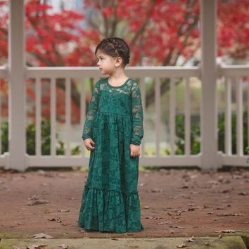Maybelle Emerald Green Long Sleeve Lace Ruffle Bottom Lace Gown Dress