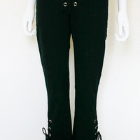 90s Lip Service Lace up Pants - low rise slim fit flare leg