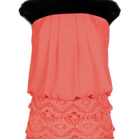 Lace and Chiffon Romper - Coral