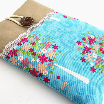 Ipad mini case, Ipad mini cover, Ipad mini sleeve with pocket-flower tree