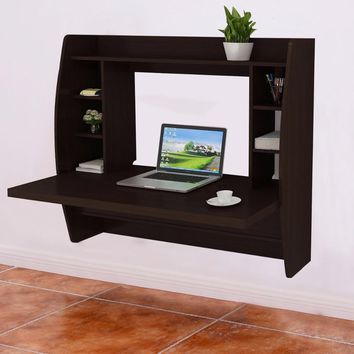 Goplus Living Room Wall Mount Floating Cabinet Modern Computer Desk TV Stand with Shelf Home Office Storage Cabinet HW54702