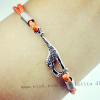 Ancient silver giraffe wax rope bracelets, charming bracelet, animal friendship gift, adjustable color is infinite