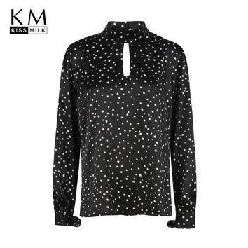 kissmilk 2018 Plus Size Star Printed Women Blouses Hollow Out Lace Up Long Sleeve Female Clothing Brief Big Size Lady Shirts