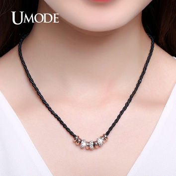 UMODE Simple Slide Beads Austrian Rhinestones Gold Color Rope Charm Necklace Lobster Jewelry for Women Christmas Gifts UN0232
