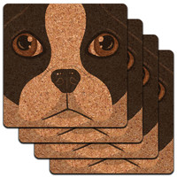Boston Terrier Face Close up Pet Dog Low Profile Cork Coaster Set