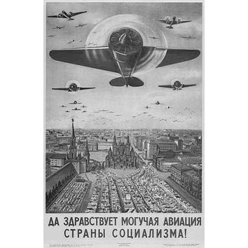 Russian Vintage Planes poster Metal Sign Wall Art 8in x 12in Black and White