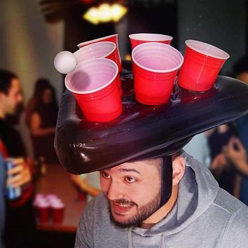Inflatable Beer Pong Party Hat Floating Pong Toss Game for Swimming Pool Easter
