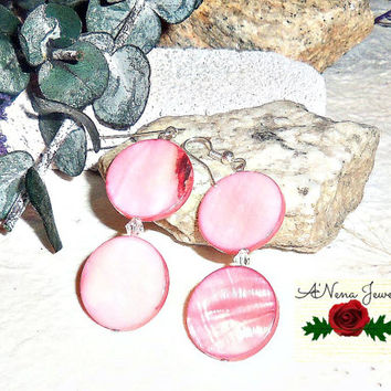 "Tribal Earrings: Handmade Pink Paua Shell And Ice Swarovski Crystals, Dangle, ""Pretty"""
